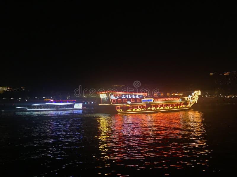 在珠江,广州,广东,中国的两条轮渡 库存图片