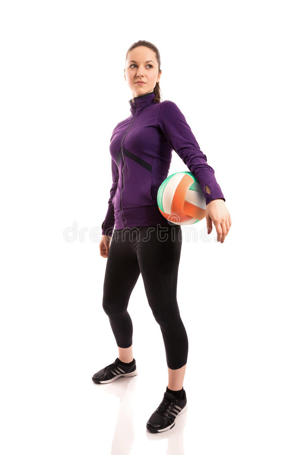 在球员射击工作室排球的黑色 库存图片
