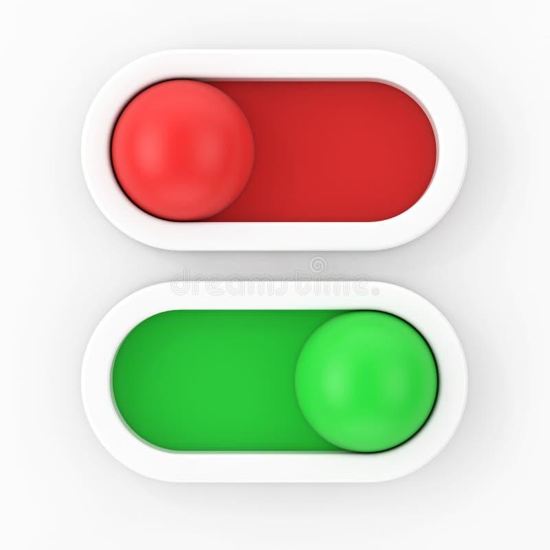 在球滑子按钮扳纽开关的现代行动 3d翻译 皇族释放例证