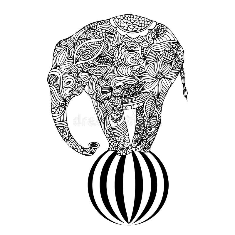 在球的大象 向量例证