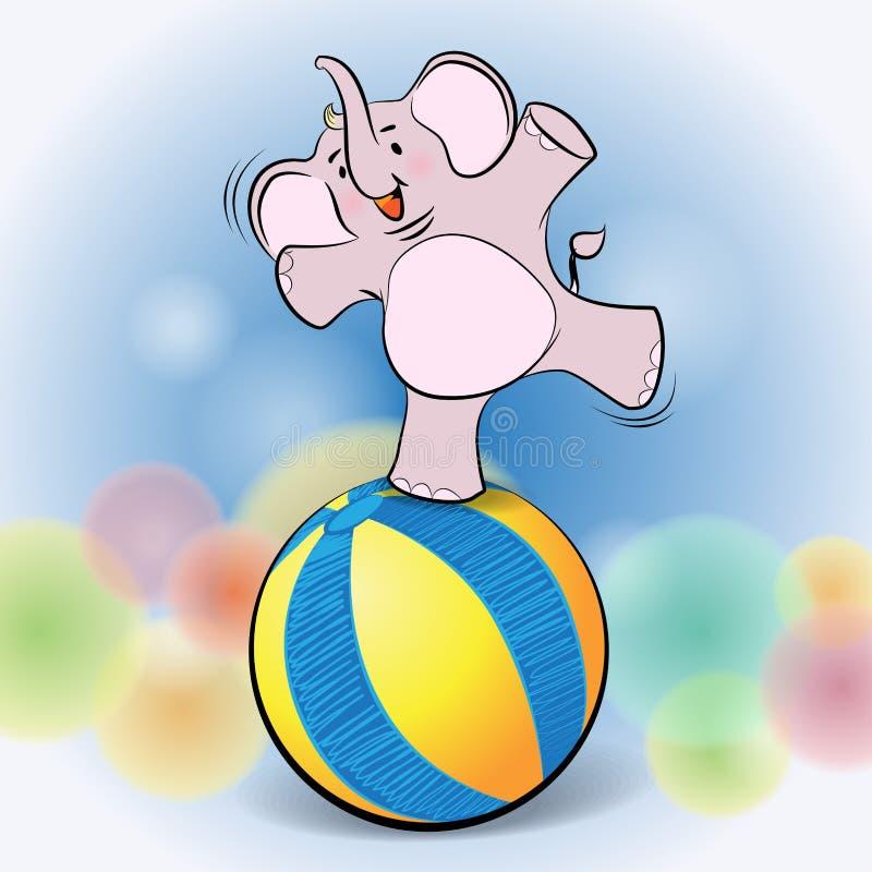 在球的逗人喜爱的大象戏剧 库存图片
