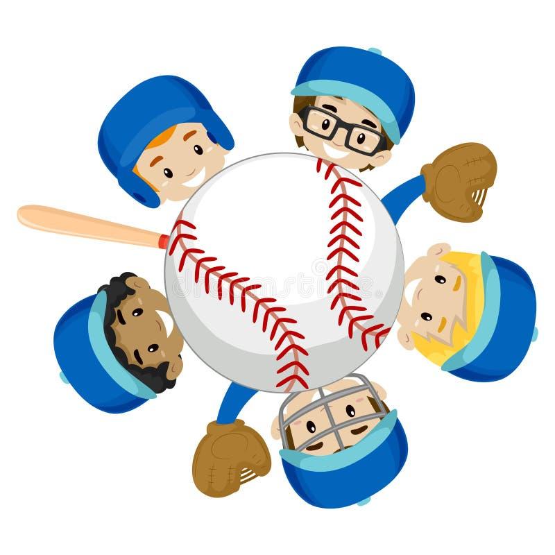 在球附近的棒球队男孩 库存例证