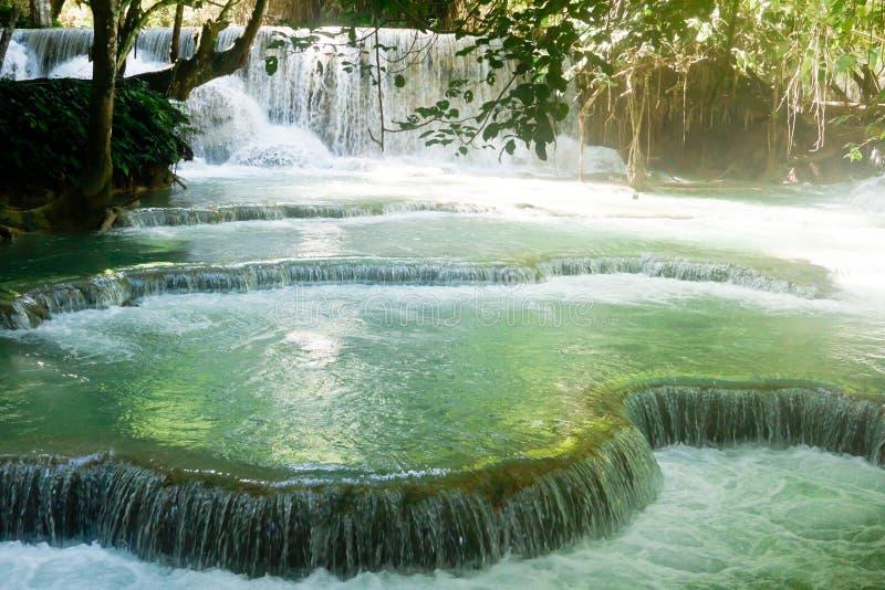 在琅勃拉邦,老挝附近的匡Si瀑布 库存照片