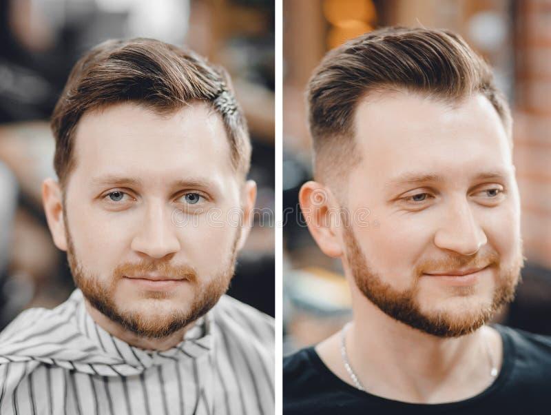 在理发椅的人前后,称呼在理发店的美发师 图库摄影