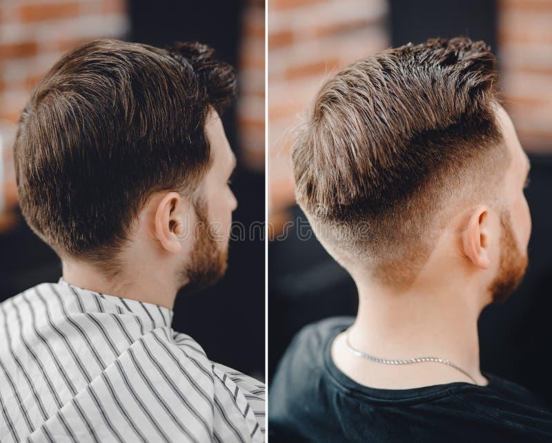 在理发椅的人前后,称呼在理发店的美发师 免版税库存照片