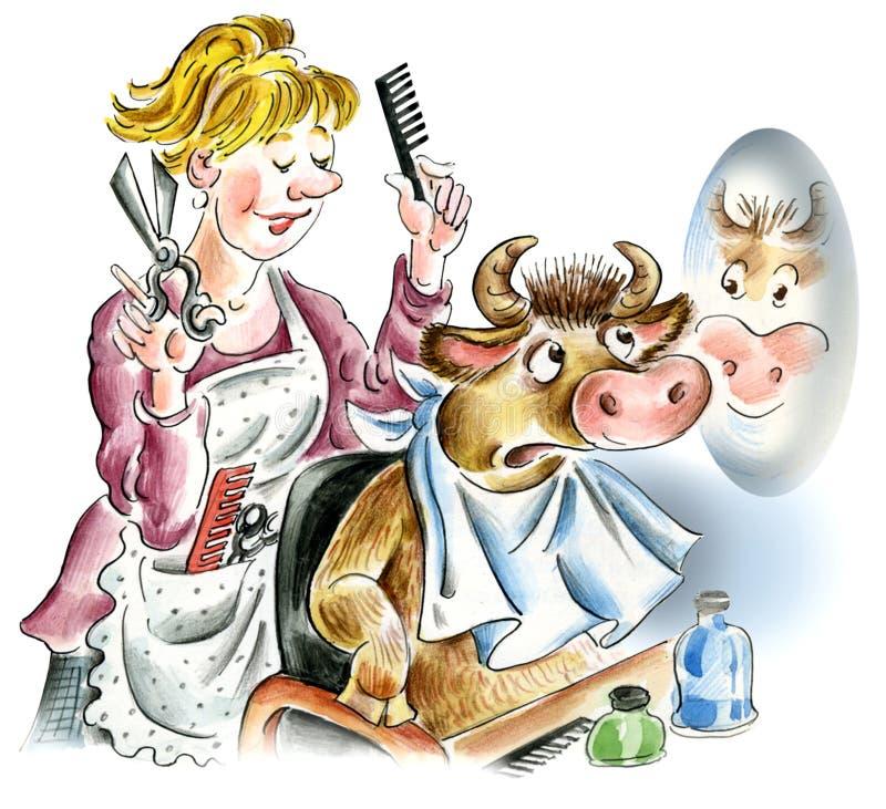 在理发沙龙的母牛 皇族释放例证