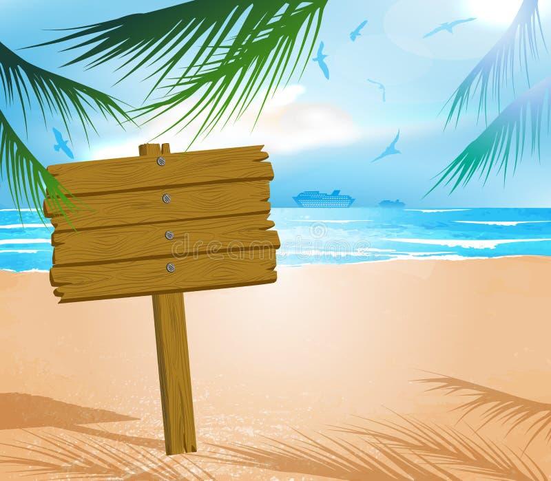 在理想主义的热带海滩的木牌 皇族释放例证