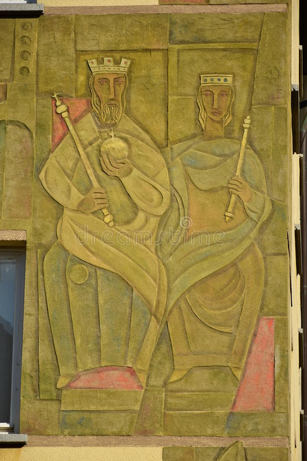在琥珀, Franconia,德国镶板以皇帝海因里奇和女皇Kunidunde为特色的图片 库存照片