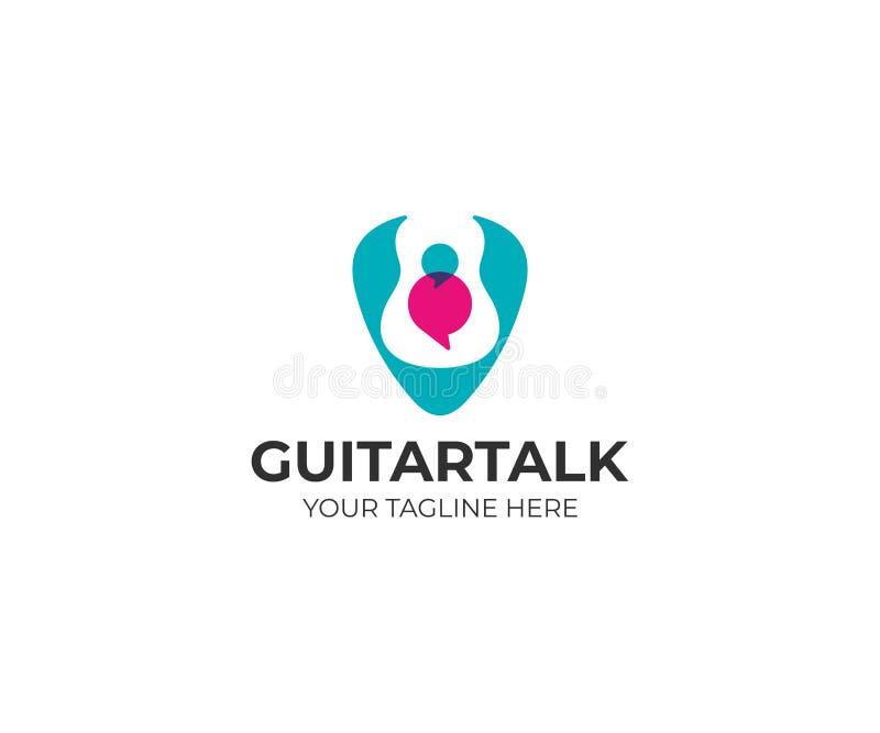 在琴拨和讲话的吉他起泡商标模板 吉他采撷传染媒介设计 向量例证