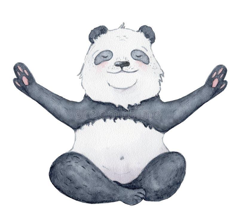 在瑜伽位置动画片水彩例证动物的逗人喜爱的熊猫 免版税库存照片