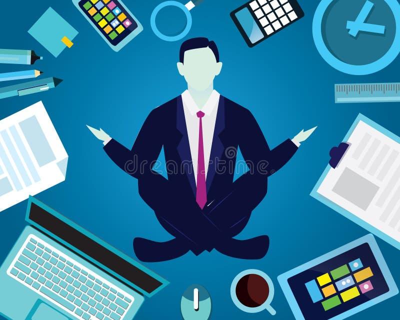 在瑜伽位置的商人 安静在事务放松 库存例证