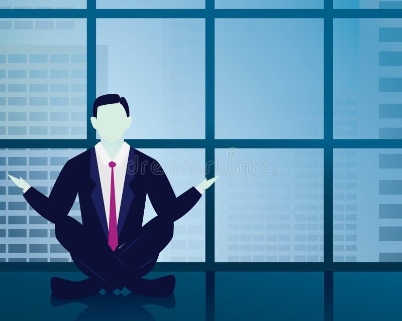 在瑜伽位置的商人 安静在事务放松 皇族释放例证
