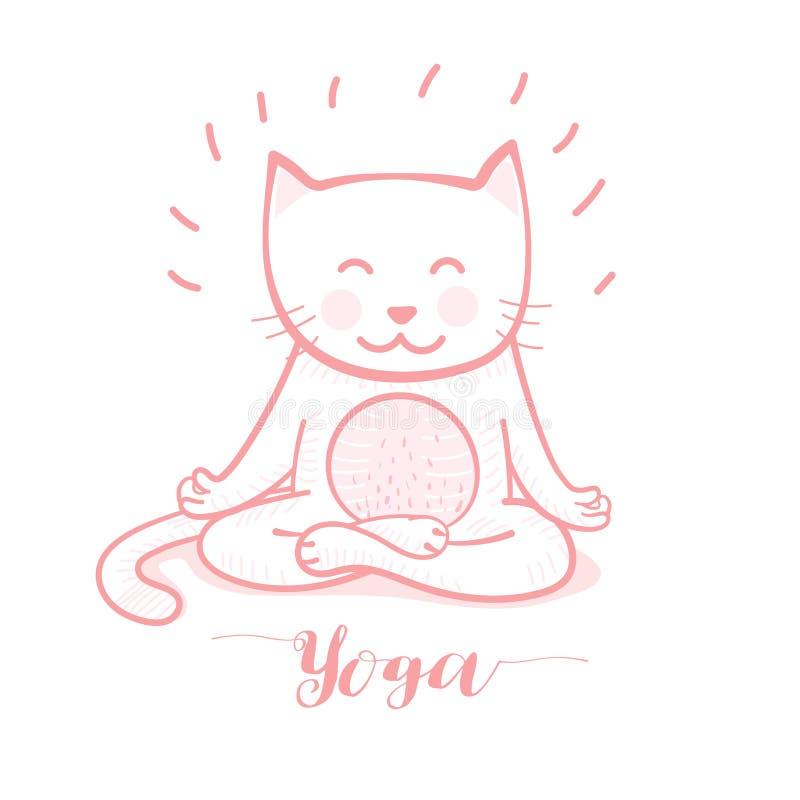 在瑜伽姿势凝思的逗人喜爱的动画片猫,在白色背景的莲花坐 库存例证