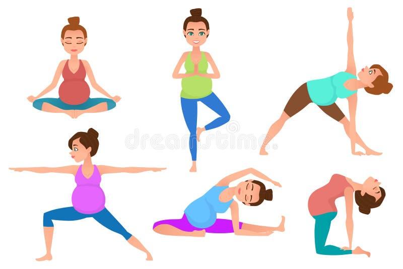 在瑜伽姿势的年轻怀孕妇女凝思 向量例证