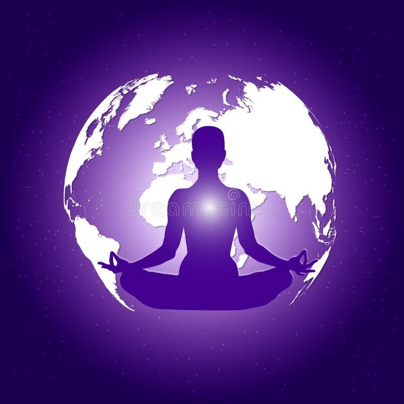 在瑜伽莲花asana的人体在与行星地球和星背景的深蓝空间 向量例证