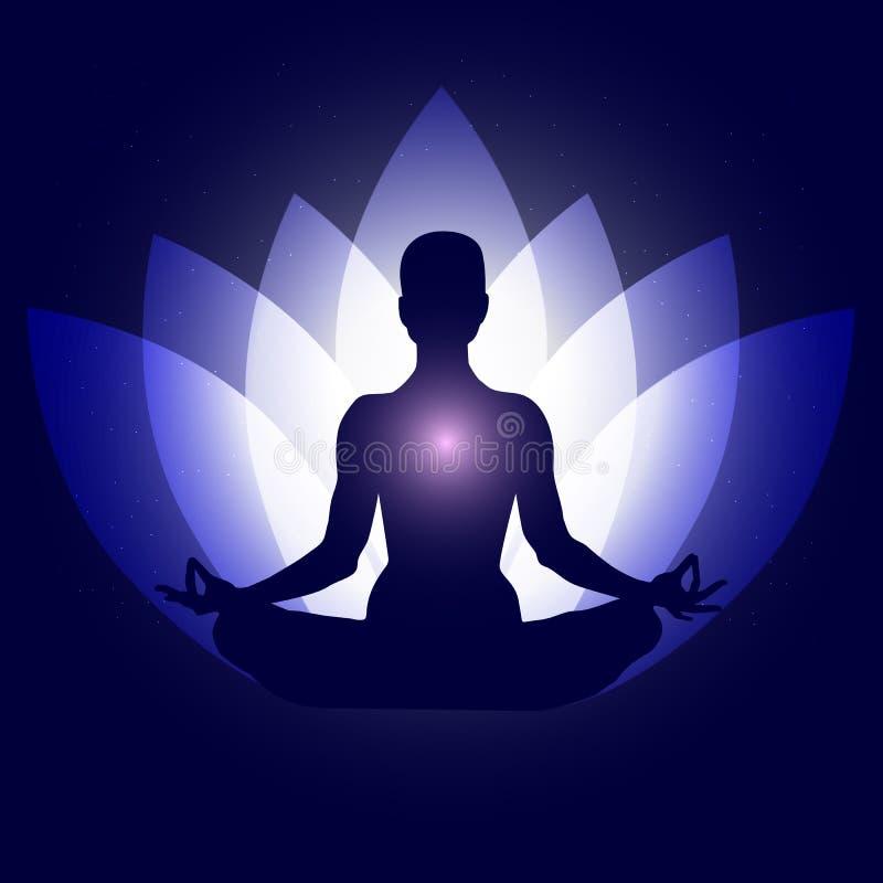 在瑜伽莲花asana的人体 Backgroung霓虹蓝色荷花瓣深蓝空间担任主角 Esoterics,灵性,东部智慧, 免版税图库摄影