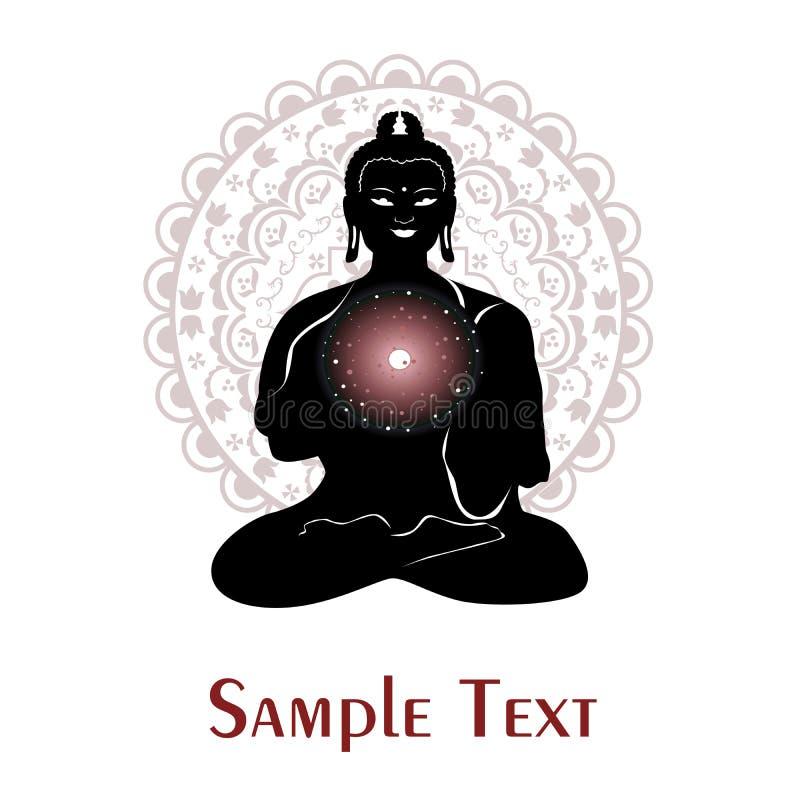 在瑜伽题材的例证与菩萨和宇宙的 库存例证