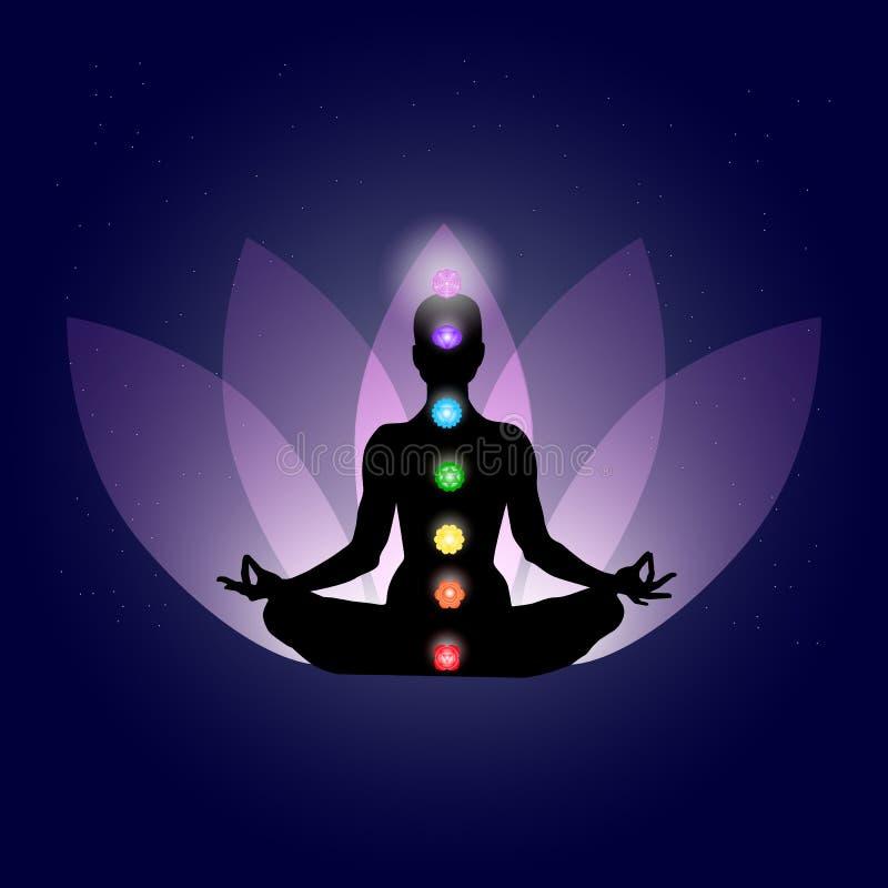 在瑜伽assana的Famale身体与在光亮的霓虹颜色在轻轻地紫色莲花瓣和深蓝空间的七chakras与星 库存例证