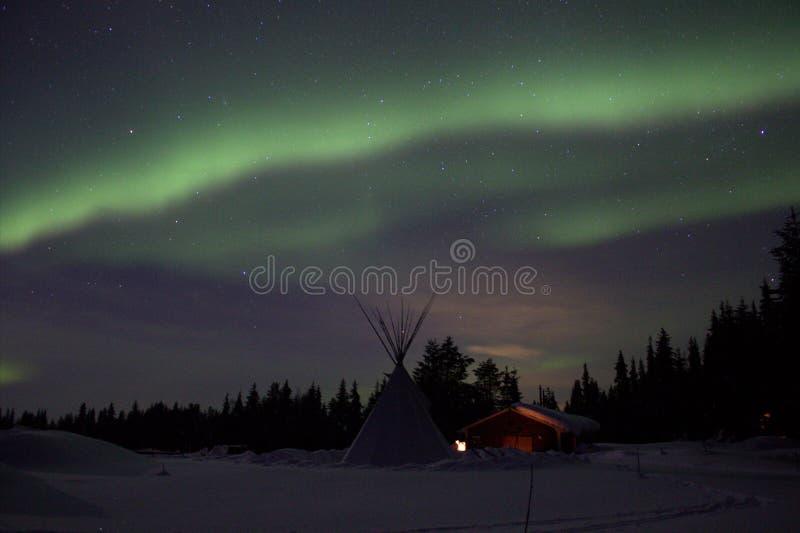 在瑞典语拉普兰的极光borealis 免版税库存图片