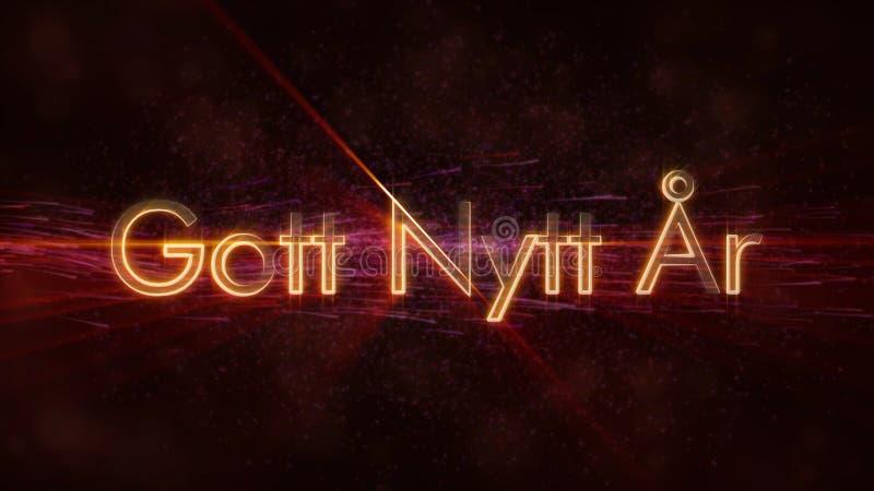 在瑞典Gott Nytt Ar圈动画的新年快乐文本在黑暗的生气蓬勃的背景 库存例证