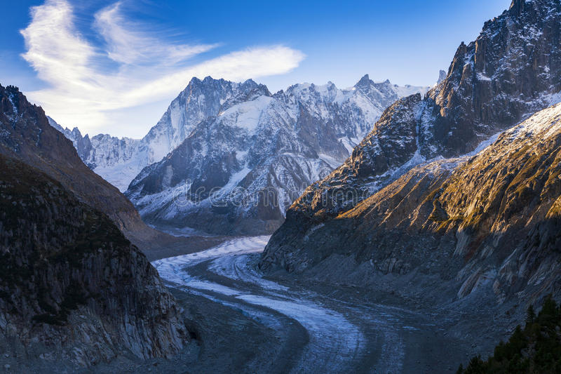 在瑞士山Landscape梅尔de Glace的看法 免版税库存照片