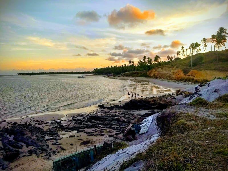 在瓜达卢佩河海滩的日落 免版税库存照片
