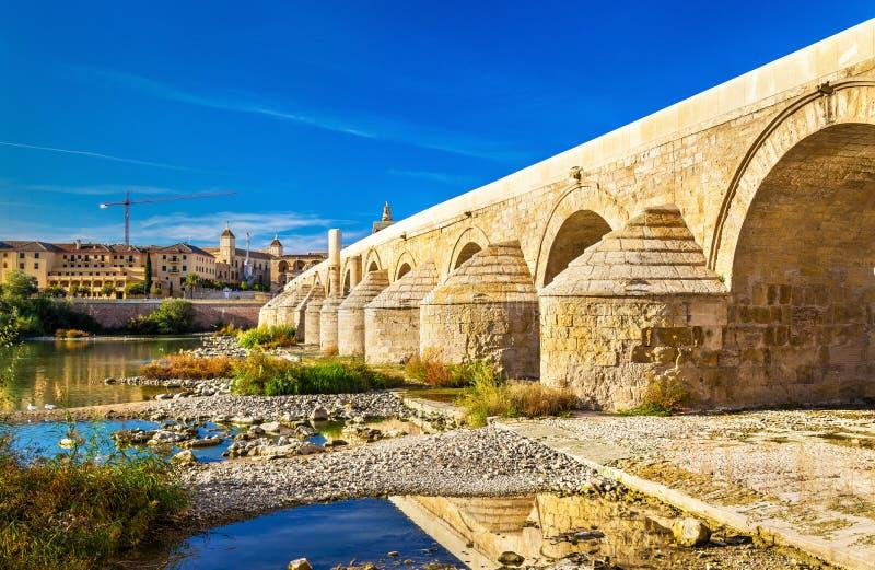 在瓜达尔基维尔河河上的罗马桥梁在科多巴,西班牙 免版税库存图片