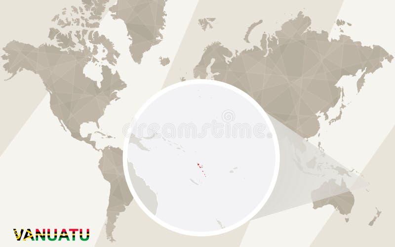在瓦努阿图地图和旗子的徒升 例证映射旧世界 库存例证