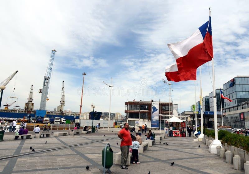 在瓦尔帕莱索海口  免版税库存图片