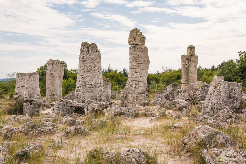 在瓦尔纳,保加利亚附近的石森林 Pobiti Kamani 库存图片