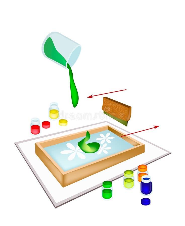 在瓦片的橡皮刮板屏幕打印 库存例证