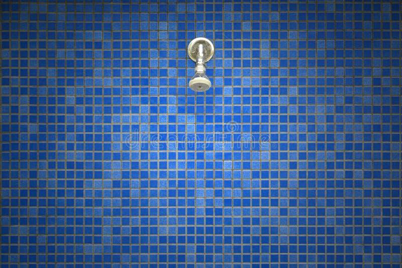 在瓦片马赛克背景的淋浴喷头 免版税库存照片