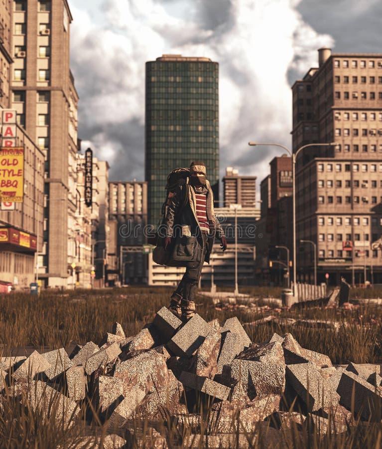 在瓦砾块的背包徒步旅行者身分在被放弃的城市 皇族释放例证