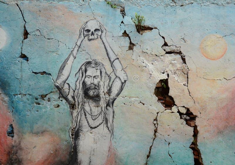 在瓦腊纳西ghats的街道画  免版税图库摄影