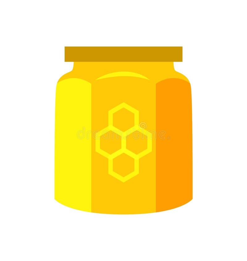 在瓶子产品传染媒介例证装于罐中的蜂蜜 库存例证