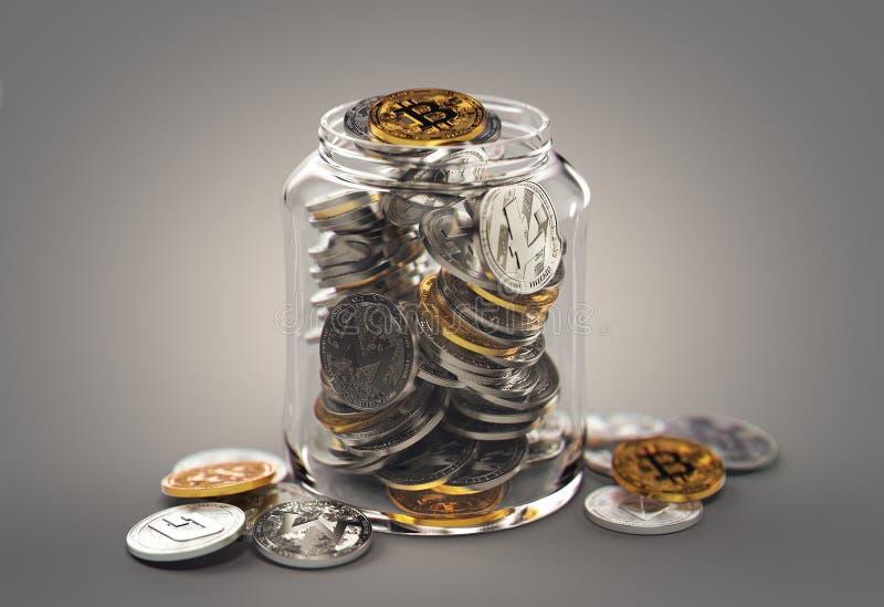 在瓶子的不同的cryptocurrencies 存放真正储款概念 现实3d翻译 皇族释放例证