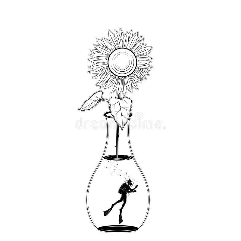 在瓶子的佩戴水肺的潜水剪影在白色背景的向日葵 库存例证