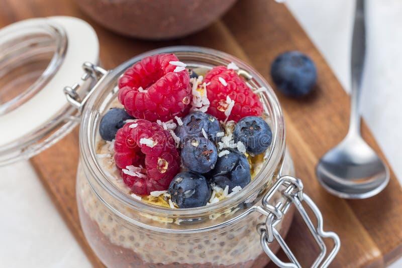 在瓶子的层状巧克力和花生酱chia种子布丁,装饰与莓、蓝莓、蜂蜜和椰子剥落, 免版税库存照片