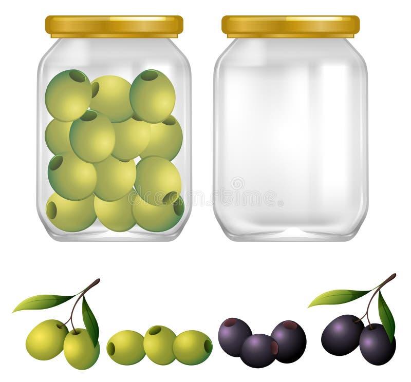 在瓶子的绿色和黑橄榄 库存例证