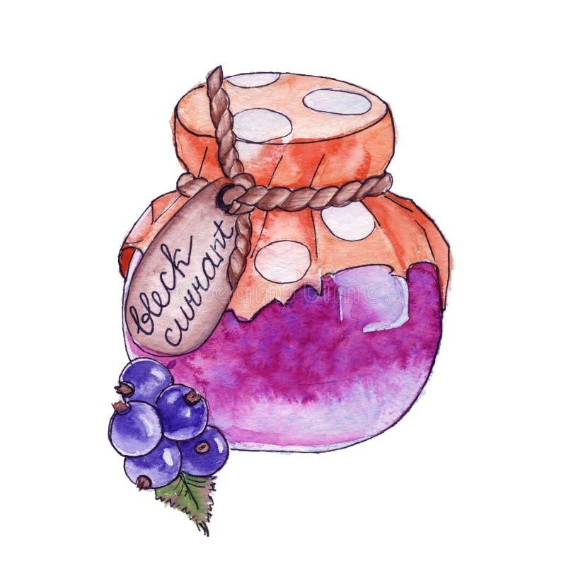 在瓶子的自创果酱 查出 水彩 皇族释放例证