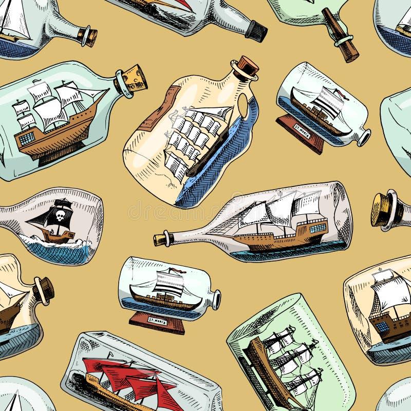 在瓶小船的船在玻璃风船的微型有天赋的风帆在隔绝的烧瓶的纪念品有黄柏的或运输 皇族释放例证
