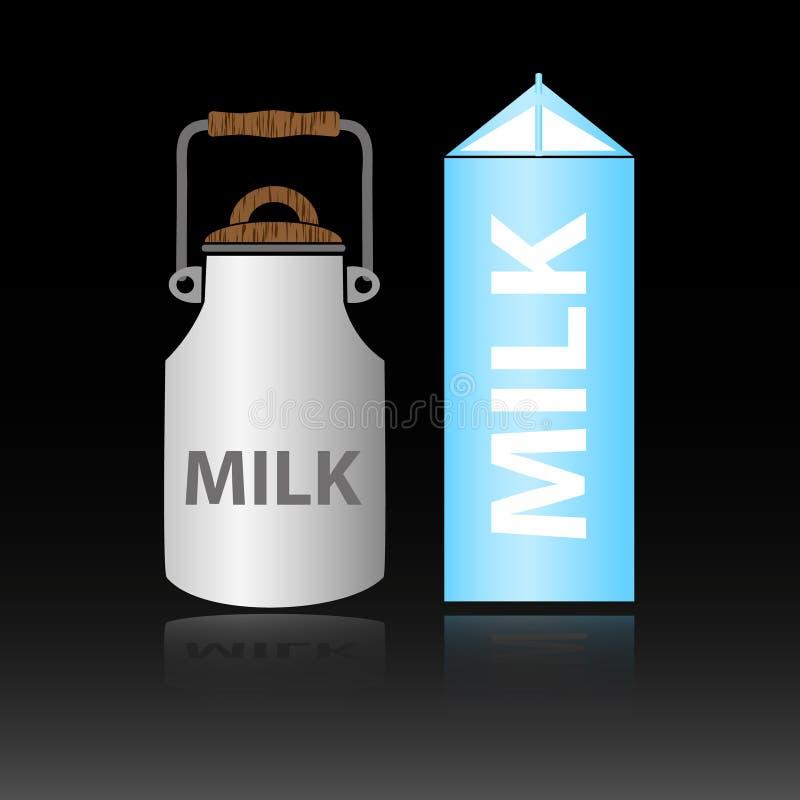在瓶的两种类型的乳制品牛奶 向量例证