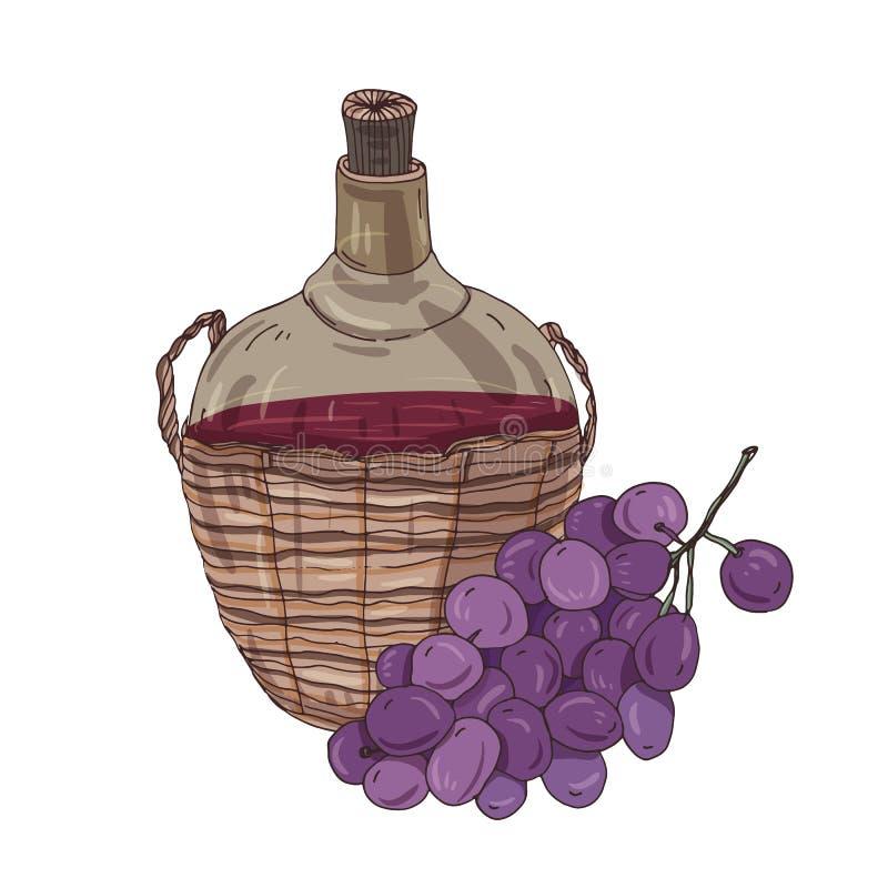 在瓶的全国英王乔治一世至三世时期红葡萄酒在秸杆篮子和葡萄 可口传统白种人酒客 皇族释放例证
