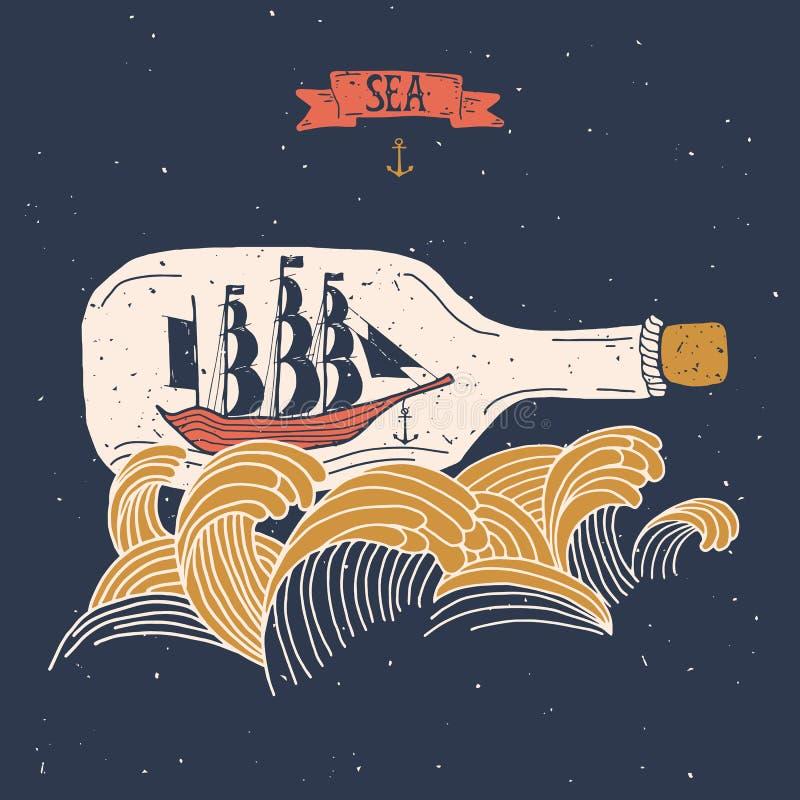 在瓶的帆船 皇族释放例证
