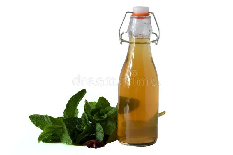 在瓶的绿色薄荷的茶在与在白色背景隔绝的薄荷的小树枝的桌上 免版税库存照片