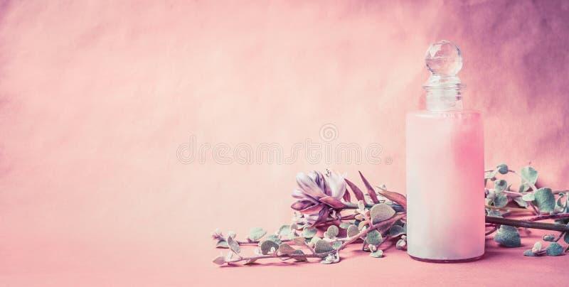 在瓶的自然化妆产品用草本和花在桃红色背景,正面图,横幅,地方文本的 健康皮肤或 库存照片