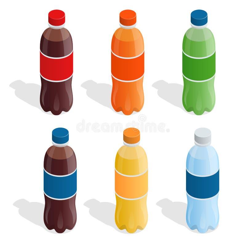 在瓶的饮料 瓶饮料塑料刷新的集 夏天喝平的3d传染媒介等量例证 皇族释放例证