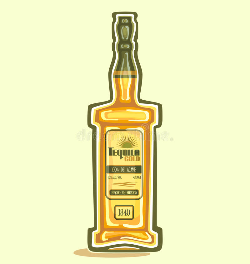 在瓶的龙舌兰酒 库存例证
