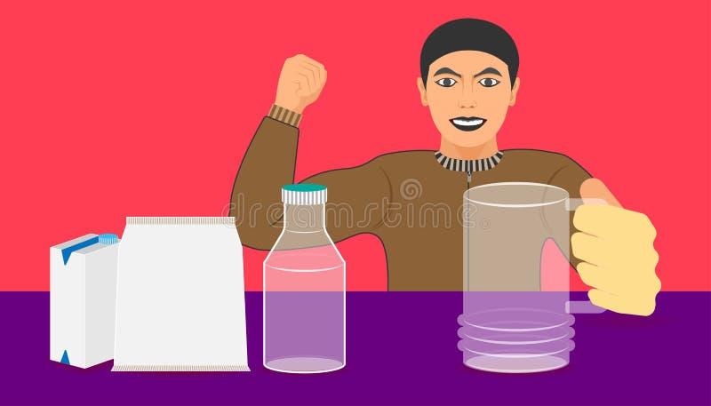 在瓶箱子袋子的自由空间您的饮料促进的 人展示从产品的玻璃和大肌肉推荐了 向量例证