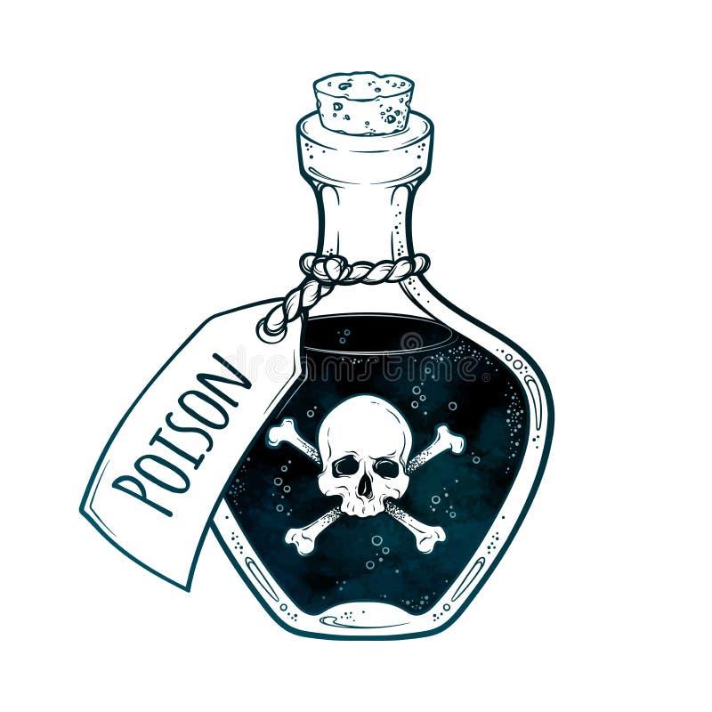 在瓶线艺术和小点的毒物运作手拉的传染媒介例证 Boho样式贴纸、补丁、印刷品或者blackwork一刹那纹身花刺 库存例证